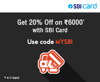 Get 20% Off on Rs.6000 with SBI Cards